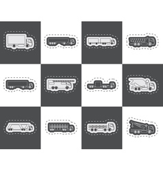 different types of trucks and lorries icons vector image