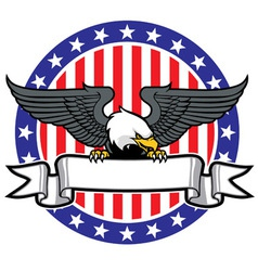eagle grip a ribbon with US flag as background vector image vector image