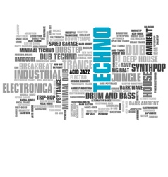Electronic techno music styles word cloud bubble vector