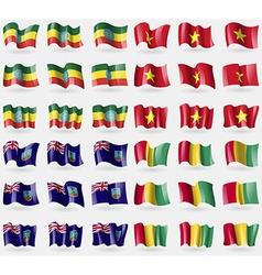 Ethiopia vietnam montserrat guinea set of 36 flags vector