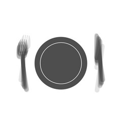Fork plate and knife gray icon shaked at vector