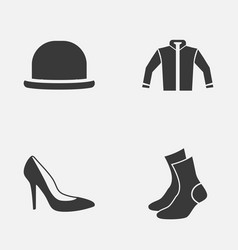 Garment icons set collection of heel footwear vector