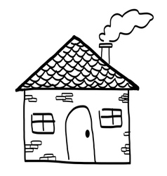 Hand drawn house in a sketch cartoon style vector image
