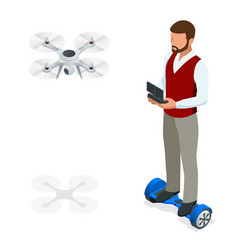 isometric man with drone quadrocopter remote vector image vector image