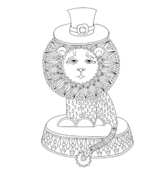 Line art of circus theme - lion in a vector