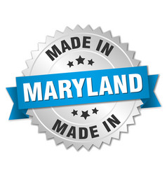 Made in maryland silver badge with blue ribbon vector