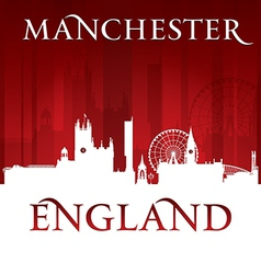 Manchester England city skyline silhouette vector image
