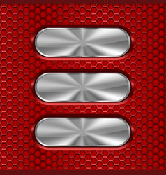 Metal oval brushed plates on red perforated vector