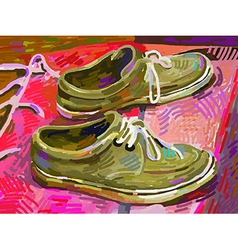 original digital painting shoe on a carpet vector image vector image