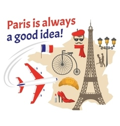 Paris Decorative Flat Icons Set vector image