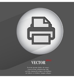 printer Flat modern web button with long shadow vector image