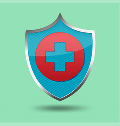 red cross shield symbol icon vector image vector image