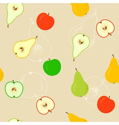 Seamless With Apples And Pears vector image