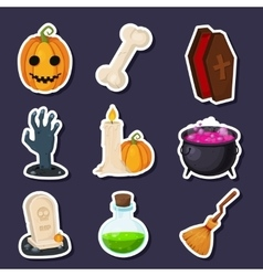 Set Of Happy Halloween flat icons with vector image