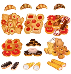 set tasty sand cookies and cake vector image