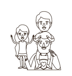 Sketch contour half body super dad hero with girl vector