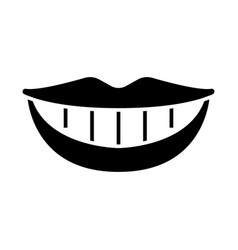 smile teeth mouth icon black vector image vector image