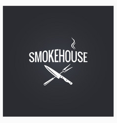 smokehouse cooking logo design background vector image