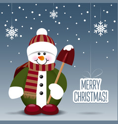 Snowman with a shovel isolated on snowy background vector