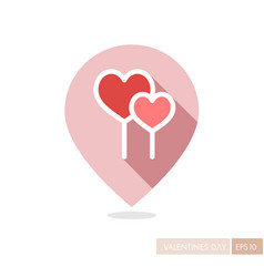 Two red heart lollipops pin map icon vector