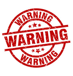 Warning round red grunge stamp vector