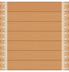 Background wooden with ethnical decoration vector