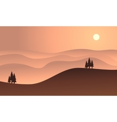 Silhouette of hill at sunset vector