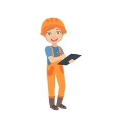 Boy work superintendent with the checklist kid vector