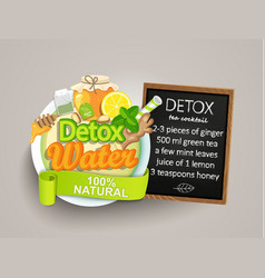 recipe detox cocktail-tealemongingerhoneymint vector image