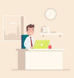 A man sits on the workplace at the office vector