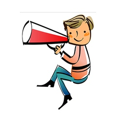 Close-up of boy holding megaphone vector