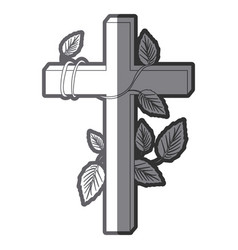 Grayscale silhouette of wooden cross and creeper vector