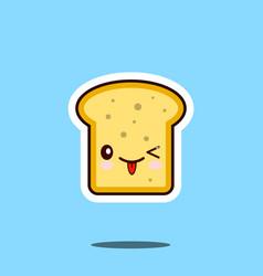 Toast kawaii cute design flat cartoon icon vector