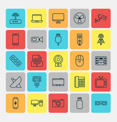 Device icons set collection of cctv telephone vector