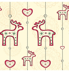 Seamless pattern with ethnic christmas decoration vector
