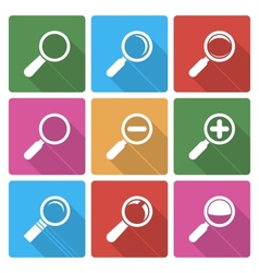 Magnifier glass icons wiht shadow vector