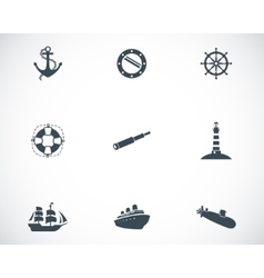 Black nautical icons set vector