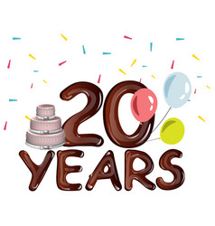 20th years anniversary card with cake vector image vector image