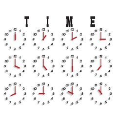 set of clocks with transparent shadow vector image