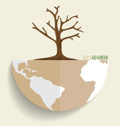 Save the world dry tree on a deforested globe vector