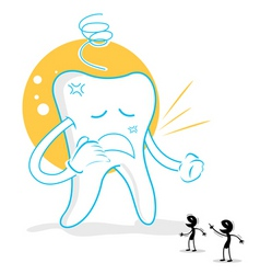 Upset teeth with germs vector