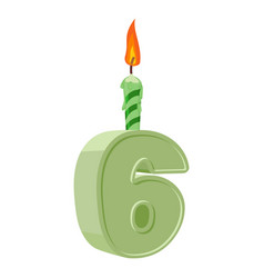 6 years birthday number with festive candle for vector