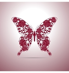 Floral pattern in shape of a butterfly vector