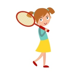 Good looking tennis player prepared for active vector