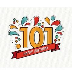 Color happy birthday number 101 flat line design vector