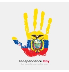 Handprint with the flag of ecuador in grunge style vector