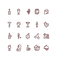 Wine and sommelier line icons vector