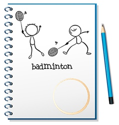 A notebook with an image of two people playing vector