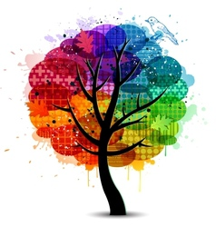 Beautiful abstract color tree background vector image