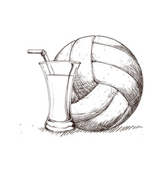 Beverage volleyball skecth vector